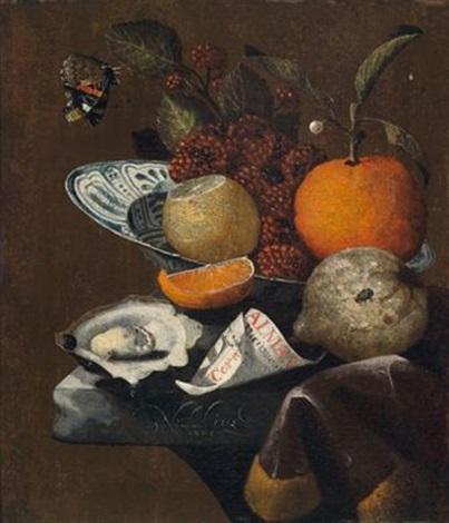 Martinus Nellius-Früchtestillleben mit geöffneter Auster, Almanachblatt und Schmetterling, um 1700